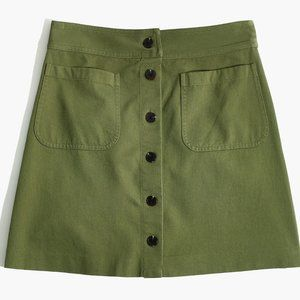 MADEWELL Green A-Line Station Mini Skirt